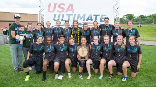 the women's ultimate frisbee team posing together in their uniforms