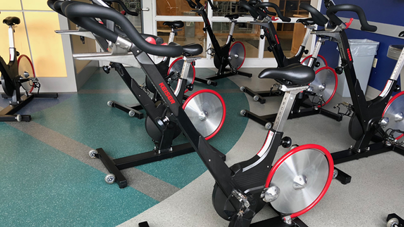 Spin bikes in the spinning room.