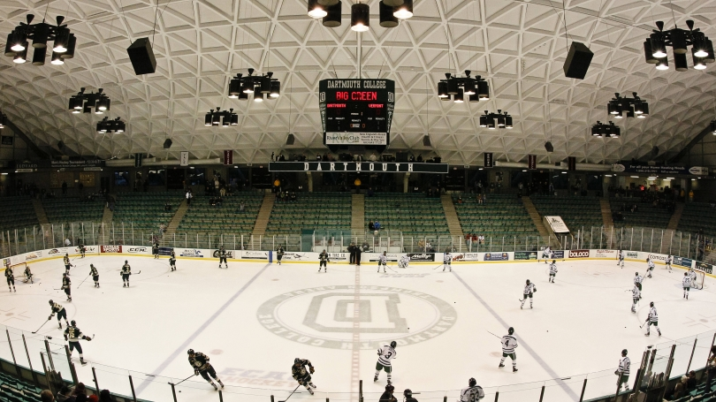 An aerial view Thompson Arena as the hockey team warms up.
